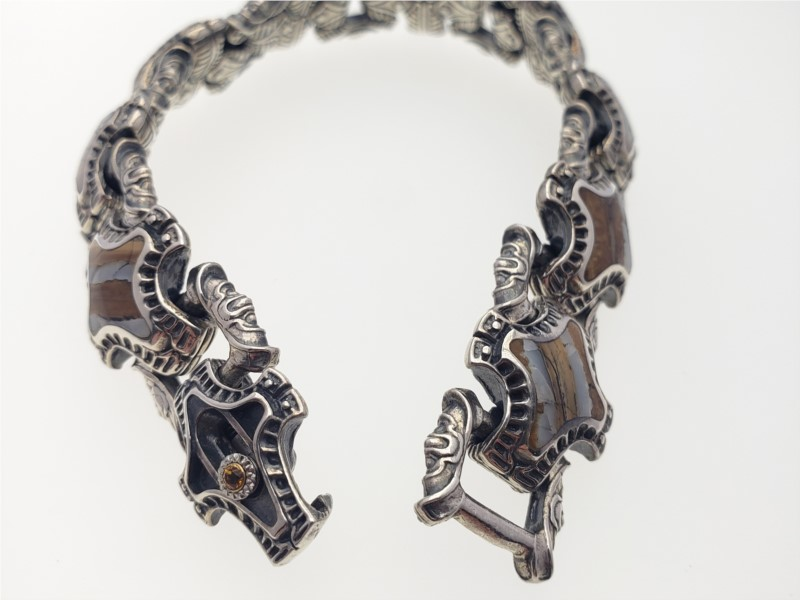 'Rook' wooly mammoth, sterling, and citrine bracelet