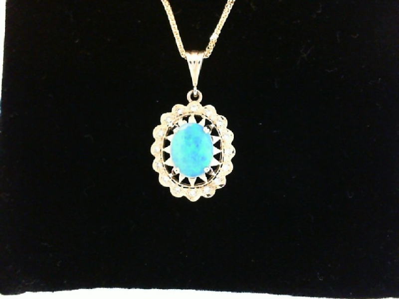 Pendants & Necklaces - GOLD OPAL AND DIAMOND PENDANT - image #2