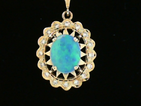 Pendants & Necklaces - GOLD OPAL AND DIAMOND PENDANT
