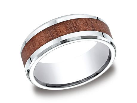 Gentleman's Wedding Band - Gentleman's Wedding Band in Cobalt Chrome with Wood Inlay Pattern