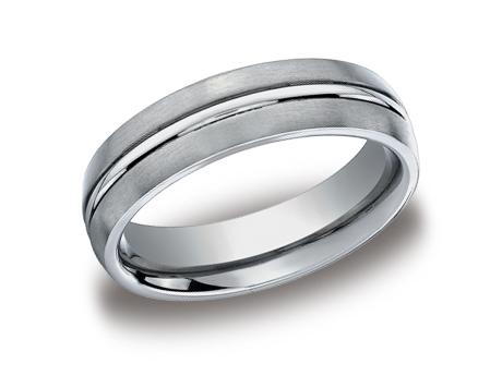 Gentleman's Wedding Band - Gentleman's Wedding Band in Titanium with Satin and Polished Finish